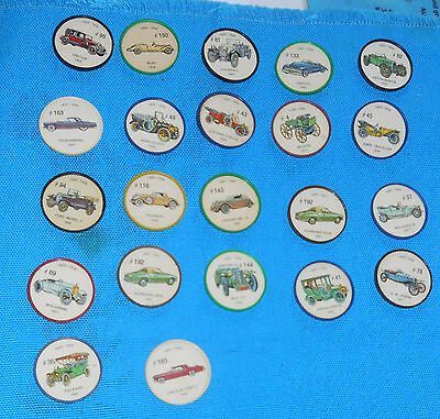 Vintage Lot of 22 - JELL-O Car Picture Wheels - Antique Automobile Classic Coins