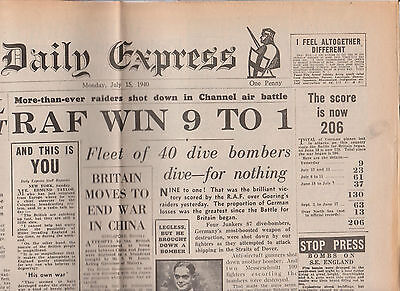 WW2 Wartime Newspaper Daily Express July 15 1940 Douglas Bader RAF Churchill