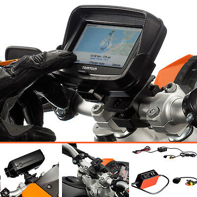 Motorcycle Pro Handlebar Mount with 2A Hardwire Charger for TomTom Rider v5 4.3""