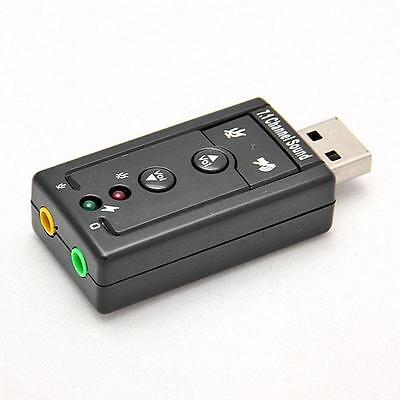 2XUSB 2.0 External 7.1 Channel 3D Virtual Audio Sound Card Mic Adapter PC Laptop