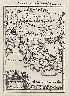 1686 Turkey in Europe Greece The Balkans 17th Century Engraving Map Mallet