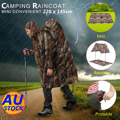 AU Camouflage Hooded Hiking Camping Raincoat Rain Cover Poncho Pocket Mat Tent