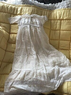 Antique Silk Baby Gown In Cream Lace Trimmed