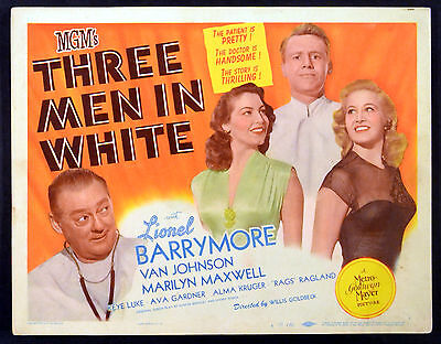 THREE MEN IN WHITE 1944 Lionel Barrymore, Ava Gardner TITLE LOBBY CARD