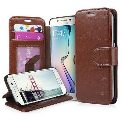 Luxury Flip Case Stand Wallet Leather Case for Samsung Galaxy S6 Edge Deep Brown