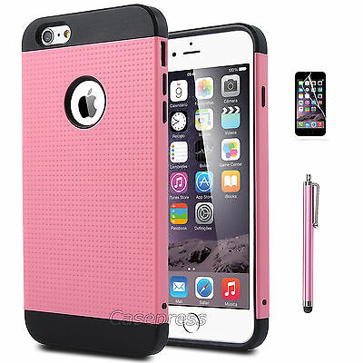 """Rugged Rubber Hard Shockproof Cover Case for Apple iPhone 6 Plus 5.5"""" Pink"""