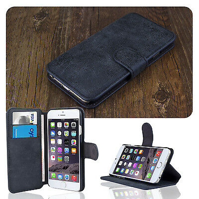 For iPhone 6 6S Luxury Scrub Leather Wallet Card Holder Flip Stand Case Blue