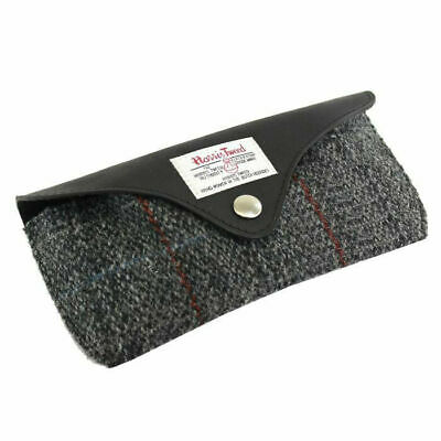 Black & Grey Tartan Harris Tweed Glasses Case Wool Specs Gift Genuine Spectacles