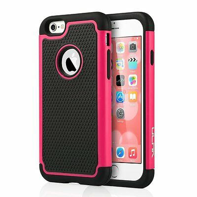 """Hybrid Shockproof Rugged Rubber Hard Cover Case for iPhone 6/6S 4.7"""" Hot Pink"""