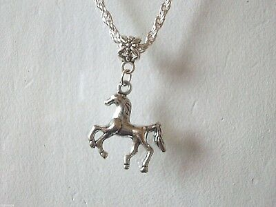 NEW CHILDRENS SILVER 18 INCH NECKLACE ,  HORSE PONY PENDENT age 4,5,6,7,8,9,10 y