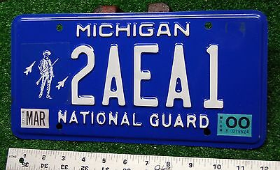 MICHIGAN - 2000 blue base NATIONAL GUARD license plate - very nice original