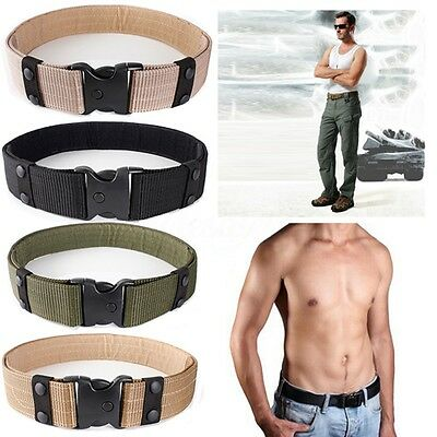 QUICK RELEASE Military Trouser BELT Army Tactical Canvas Webbing 4 Colour Option