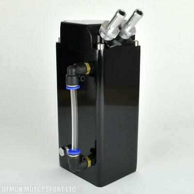 Universal Oil Catch Collector Tank BLACK Square Blow By Breather with fittings