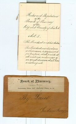 1845 Handwritten Rules & Regulations New York City Board of Pharmacy