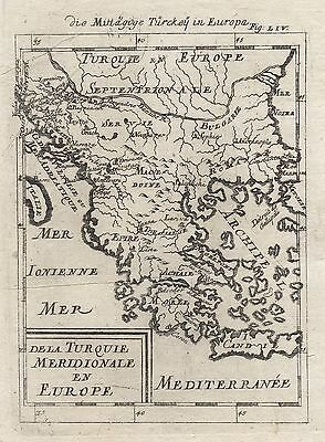 1685 Turkey in Europe Greece The Balkans 17th Century Engraving Map Mallet