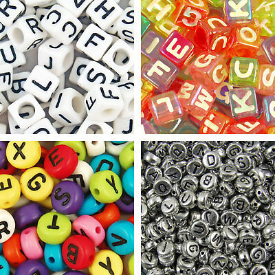 100 to 1000 Acrylic Mixed Letter Disc Cube Alphabet Beads 6mm 7mm