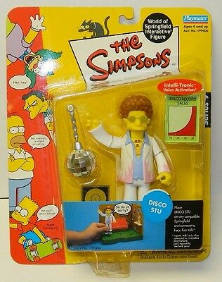 The Simpsons Disco Stu with Action Figure with Voice, Playmates 2002, NEW SEALED