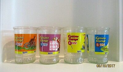 Vintage Curious George Welch's Jelly Glass #2, #3, #4, #5