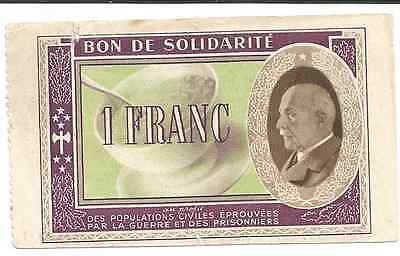 Billet FRANCE : bon de solidarité 1 franc Pétain