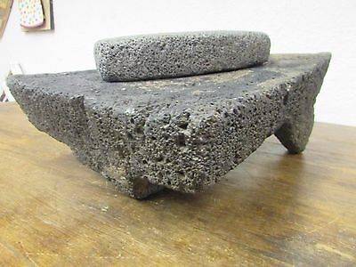 Antique Metate #8-Grinder-Rustic-Complete-Old Mexican--Primitive-11x14x6H