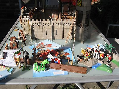 Playmobil Huge Lot-Large Castle House Knights Jousting Cart 30+Men13 Horses 3666
