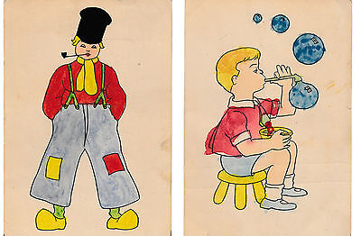 2 hand-coloured post cards 1941