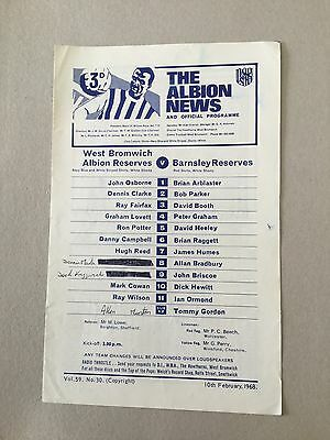 WEST BROMWICH ALBION Res v BARNSLEY Res 1967/8