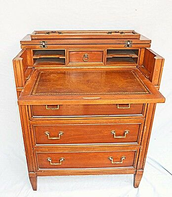 Vintage Antique Ladies Desk Cabinet Secretary Pull Out Leather Writing Insert