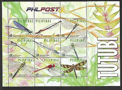 Philippines - Mnh Min. Sheet Of Nine Dragonflies -