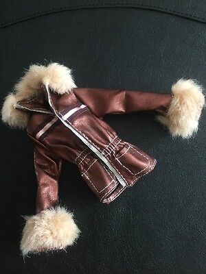 Barbie My Scene Doll Clothes Original Chillin Out Brown Jacket + Faux Fur Trim