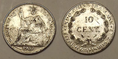 1937 French Indo-China 10 Cent Silver Coin