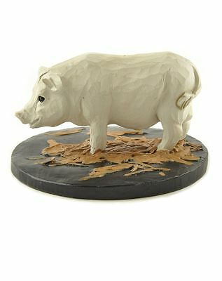 Pig on Straw Resin Figurine Blossom Bucket Country Rustic Farm Animal Prim