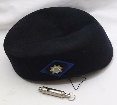 Vintage Girl Guide Hat with Enamel Badge for Devon Guides + Whistle