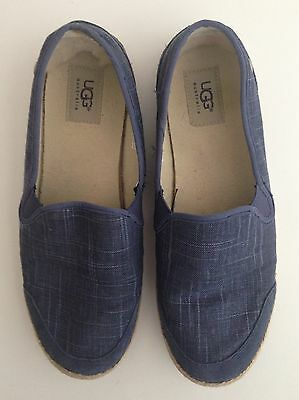 UGG Australia Women's Ladies Shoes Summer Flats Blue Denim Canvas Leather Sz 10
