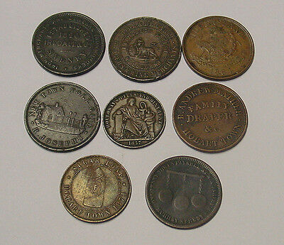 Seven different Australian 1850s-1860s  gold rush period penny trade tokens.
