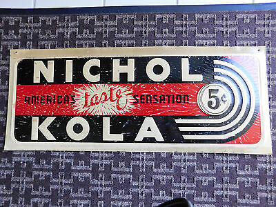 "Vintage NICHOL KOLA soda pop advertising sign, 27.5"" x 11"", original, metal"