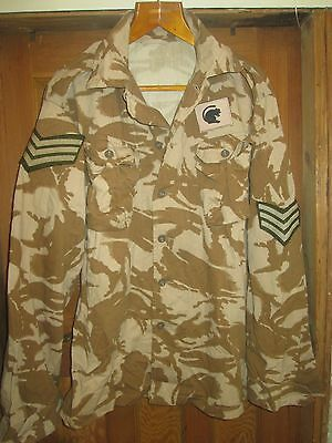 British Army Camo Shirt Jacket,with Sergeants Stripes And Desert Rat Patch,large