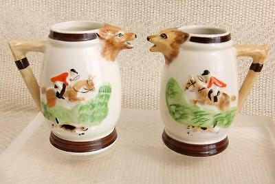 """Pair of Vintage England Portland Pottery Stirrup Cups or Creamers 3.5"""" tall r618"""
