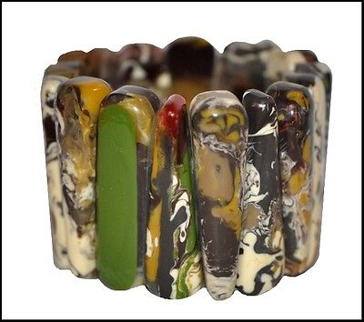 Spectacular Wide 'end Of Day' Resin Expandable Bracelet