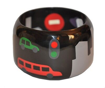Fun Multi Color Marquetry Resin Bangle Bracelet With Building Car Red Light