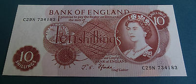 Bank Of England 10 Ten Shillings Banknote 1966-70 J.S.Fforde UNC