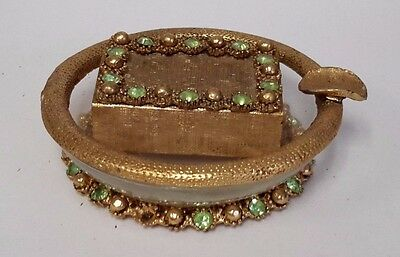 Vintage Ashtray And Match Box Gold Trim W/ Jewels  (S532)
