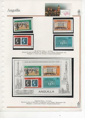 Anguilla 1980 Stamp Exhibition Miniature Sheet and set of 4 stamps MNH 1st issue