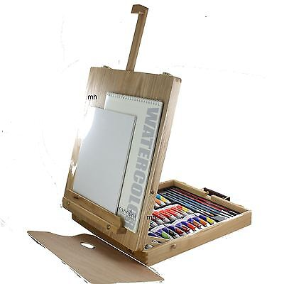 Artist filled Wooden paint table top display easel watercolour oil acrylic 48pc