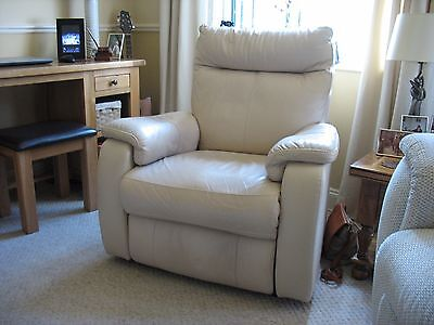 Cream Real Leather High Quality Recliner Armchair.  Excellent condition 1 yr old