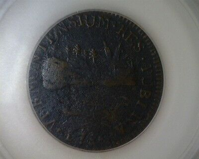 ICOIN - 1786 Vermont Landscape Vermontensium Colonial Copper Coin VF corroded