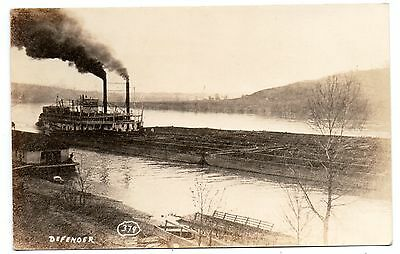 "MARIETTA OHIO 1900's ""REAL PHOTO""--OF THE DEFENDER--PUSHING BARGES--WOWSERS~~"