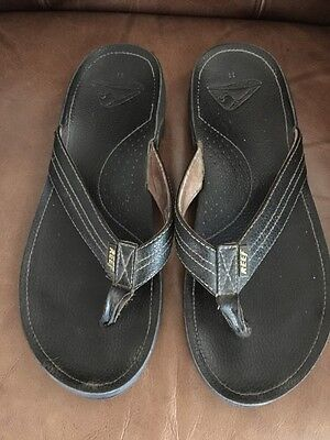 Reef Leather Sandals Flip Flops Mn Sz 11 Used Cleaned Grunge Beach Used