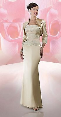 NWT La Perle 6492 Size 16 charmeuse satin & lace formal gown with jacket, Topaz