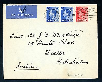 1937 Edward VIII  Air Mail Cover to Lt. Col.   Quetta India  (J1629)